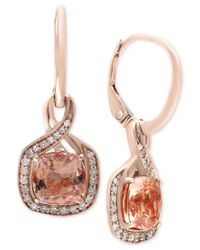 Effy Collection | Multicolor Blush By Effy Morganite (2-3/8 Ct. T.w.) And Diamond (1/5 Ct. T.w.) Drop Earrings In 14k Rose Gold | Lyst