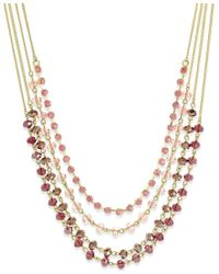 INC International Concepts | Pink Gold-tone Multi-row Beaded Necklace, Only At Macy's | Lyst