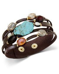Macy's - Multicolor Gold-tone Faux Leather Multi-stone Snap Bracelet - Lyst