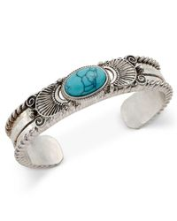 Macy's | Blue Silver-tone Turquoise-look Stone Ornate Cuff Bracelet | Lyst