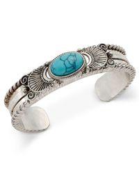Macy's - Blue Silver-tone Turquoise-look Stone Ornate Cuff Bracelet - Lyst
