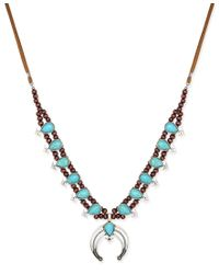 Macy's - Metallic Silver-tone Turquoise-look Faux Suede Beaded Horn Pendant Necklace - Lyst