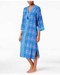 Charter Club Blue Contrast-banded Caftan, Only At Macy's