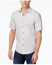 Alfani White Men's Vernon Classic-fit Dash-print Short-sleeve Shirt for men