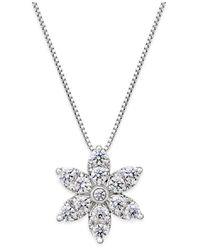 Macy's | Metallic Diamond Starburst Pendant Necklace (1 Ct. T.w.) In 14k White Gold | Lyst