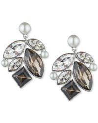 Givenchy - Metallic Silver-tone Imitation Pearl And Crystal Stud Earrings - Lyst