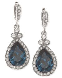 Givenchy | Metallic Silver-tone Dark Blue Crystal And Pave Teardrop Drop Earrings | Lyst