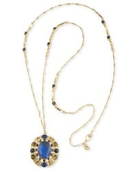Carolee | Metallic Gold-tone Blue Stone Long Oval Pendant Necklace | Lyst
