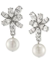 Carolee | Metallic Silver-tone Imitation Pearl And Crystal Drop Earrings | Lyst