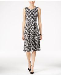 Charter Club Black Printed Fit & Flare Dress, Only At Macy's