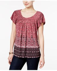 Style & Co. | Multicolor Printed Pleated Top | Lyst