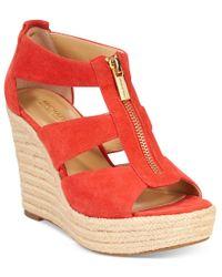 Michael Kors - Red Michael Damita Platform Wedge Sandals - Lyst