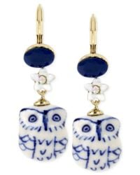 Betsey Johnson | Gold-tone Blue And White Ceramic Owl Drop Earrings | Lyst