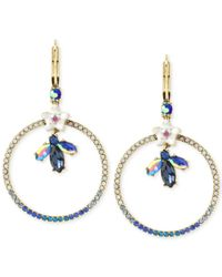 Betsey Johnson | Metallic Gold-tone Crystal Bug And Flowers Gypsy Pavé Hoop Earrings | Lyst