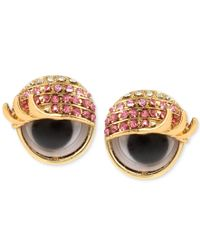 Betsey Johnson - Metallic Gold-tone Pink Pave Googly Eye Stud Earrings - Lyst