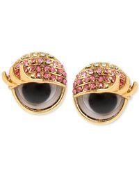 Betsey Johnson | Metallic Gold-tone Pink Pavé Googly Eye Stud Earrings | Lyst