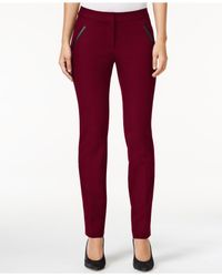 Alfani Red Petite Faux-leather-detail Pants