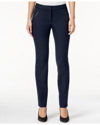 Alfani Blue Petite Faux-leather-detail Pants, Only At Macy's