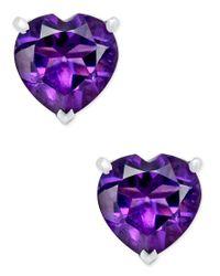 Macy's | Purple Amethyst Heart Stud Earrings (1-1/4 Ct. T.w.) In Sterling Silver | Lyst