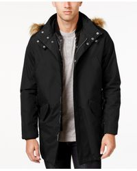 Cole Haan | Black Men's 3-in-1 Lightweight Anorak With Faux-fur Removable Hood for Men | Lyst