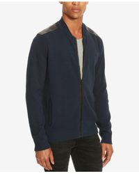 Kenneth Cole Reaction | Blue Men's Mixed-media Sweater-jacket for Men | Lyst
