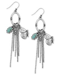 Lucky Brand - Metallic Silver-tone Butterfly And Stone Fringe Drop Earrings - Lyst