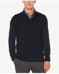 Perry Ellis | Blue Men's Quarter-zip Mock Neck Sweater for Men | Lyst