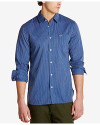 Lacoste   Blue Men's Poplin Striped Shirt for Men   Lyst