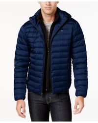 Calvin Klein | Blue Men's Packable Hooded With Inner Zip-up Collar Puffer Coat for Men | Lyst