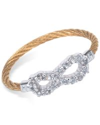 Charriol | Metallic Women's Laetitia White Topaz-accent Infinity Two-tone Pvd Stainless Steel Cable Ring | Lyst