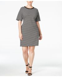 Michael Kors | Black Michael Plus Size Striped T-shirt Dress | Lyst