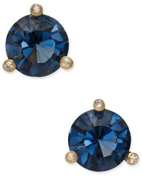 kate spade new york | Gold-tone Navy Blue And Clear Crystal Stud Earrings | Lyst