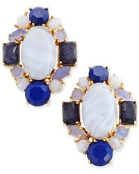 kate spade new york | Gold-tone Blue Stone Cluster Stud Earrings | Lyst