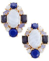 Kate Spade | Gold-tone Blue Stone Cluster Stud Earrings | Lyst