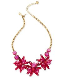 kate spade new york | Pink Gold-tone Crystal Flower Collar Necklace | Lyst