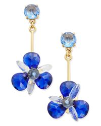 Kate Spade | Gold-tone Blue Crystal Drop Earrings | Lyst