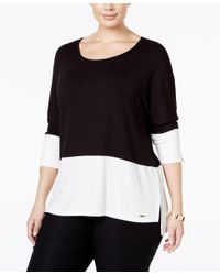 Calvin Klein | Black Plus Size Colorblocked Dolman Top | Lyst