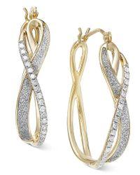 Macy's - Metallic Diamond Glitter Hoop Earrings (1/4 Ct. T.w.) In 14k Gold - Lyst