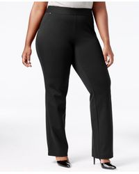 INC International Concepts | Black Plus Size Pull-on Straight-leg Pants, Only At Macy's | Lyst