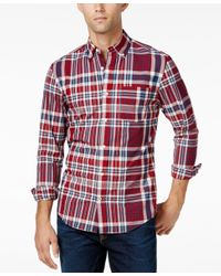 Tommy Hilfiger | Red Men's Classic Fit Long-sleeve Francisco Plaid Shirt for Men | Lyst