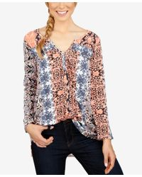 Lucky Brand - Red Printed Long-sleeve Top - Lyst