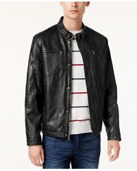 Kenneth Cole | Black Men's Marbleized Faux-leather Moto Jacket for Men | Lyst