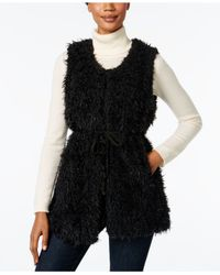 INC International Concepts | Black Faux Sherpa Tie Vest, Only At Macy's | Lyst
