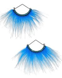 Betsey Johnson | Blue Xox Trolls Faux-fur Fan Earrings, Only At Macy's | Lyst