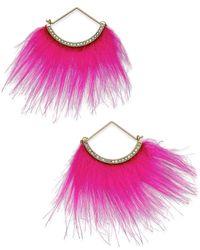 Betsey Johnson   Pink Xox Trolls Faux-fur Fan Earrings, Only At Macy's   Lyst