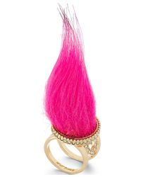 Betsey Johnson | Pink Faux Fur Ring | Lyst