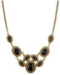 2028 | Metallic Gold-tone Black Stone Ornate Statement Necklace, A Macy's Exclusive Style | Lyst