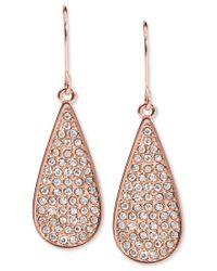 Lauren by Ralph Lauren | Pink Rose Gold-tone Pave Teardrop Drop Earrings | Lyst