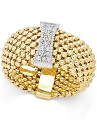 Macy's | Metallic Diamond Mesh Ring (1/6 Ct. T.w.) In 14k Gold-plated Sterling Silver | Lyst