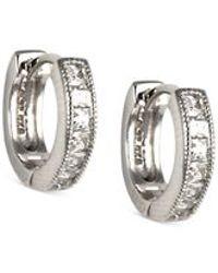 Judith Jack - Metallic Sterling Silver And Cubic Zirconia Huggy Hoop Earrings - Lyst